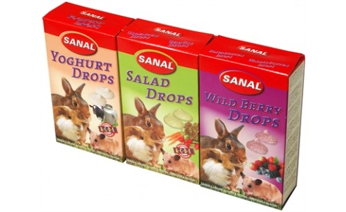 SANAL KNAAGDIER 3-PACK DROPS YOGURT/SALAD/WILD BERRY 3X45 GR